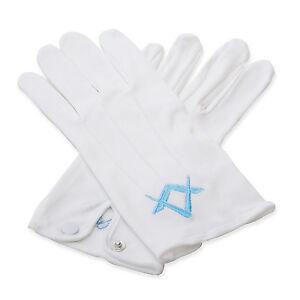 Quality-Regalia-100-Cotton-White-Craft-Masonic-Sq-amp-Compass-Lodge-Gloves