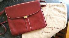 Genuine Salvatore Farragamo Burgundy Maroon Leather Handbag, Crossover Clutch