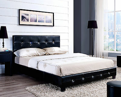 Black White Brown Diamante Bed Frame Faux Leather and with Mattress Double King