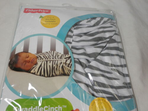 Grey//White Zebra Print 4-9 Mos Large New Fisher-Price Swaddle Cinch Blanket