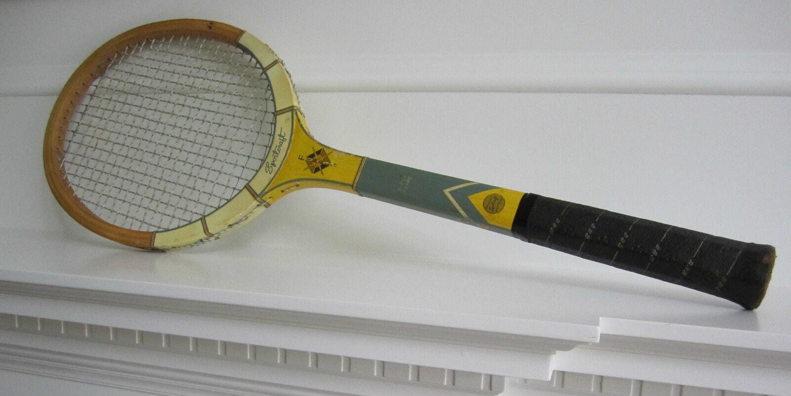 Sportcraft Wood Vintage Tennis Racquet 4 5 8 8 8  Wooden 5-Ply Frame Beautiful 03d