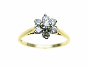 18ct-Gold-7-Diamond-star-cluster-ring-TCW-0-35ct-Size-Q