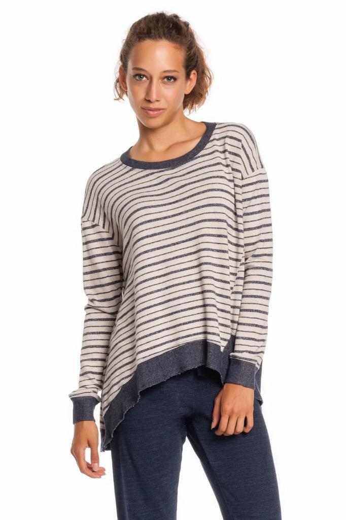 Wilt Big Slant Sweatshirt OATMEAL 591072 Striped Long Sleeve Sweater Hi Low High