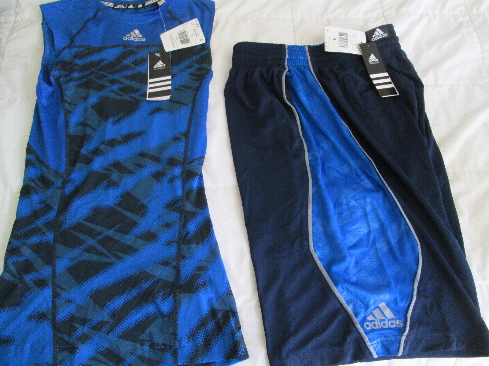 NEW Uomo ADIDAS 2Pc WORKOUT Navy & Blue Outfit Shirt+Shorts Sm FREE SHIP