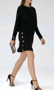 Reiss Farrah Waist nera Size lunga Dress Dress Size 8 Brand Designer Manica New OqdTUxwWT