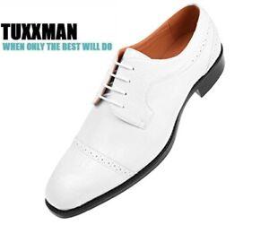 New-Men-039-s-White-Croc-Cap-toe-Eelskin-Oxford-Dress-Shoes-Lace-Up-TUXXMAN