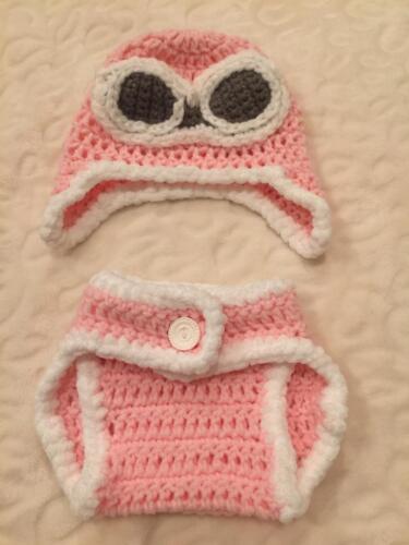 Hand Crochet Photo Prop Baby Aviator Diaper Cover Hat Set Newborn  Outfit NEW