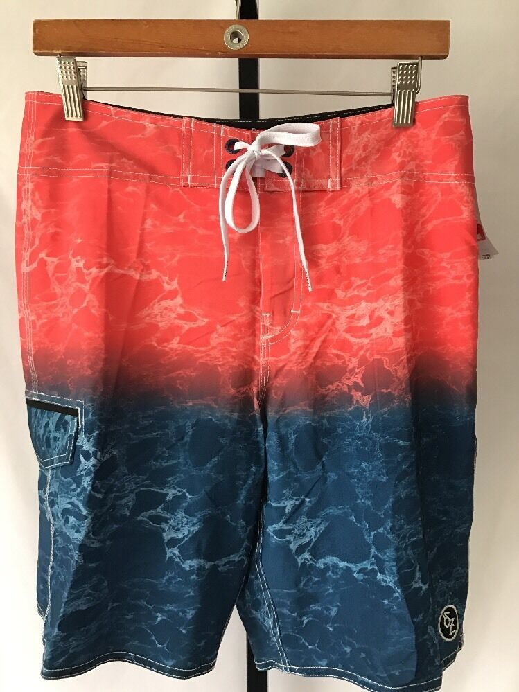 c9ade0ffea EZEKIEL SUNSET GRAPHIC PRINT BOARD SHORTS SWIM TRUNKS orange SIZE 29 NEW