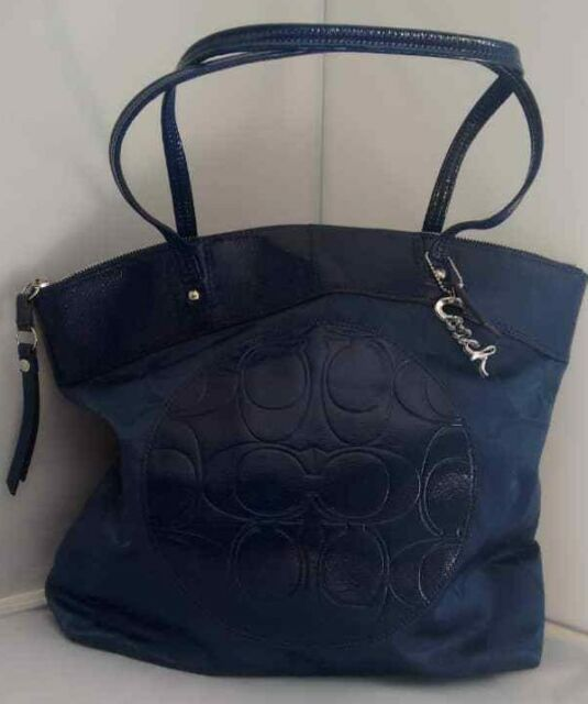 eaae183984 Coach Laura Signature Tote F19440 / Navy Blue - With Tags 100 ...