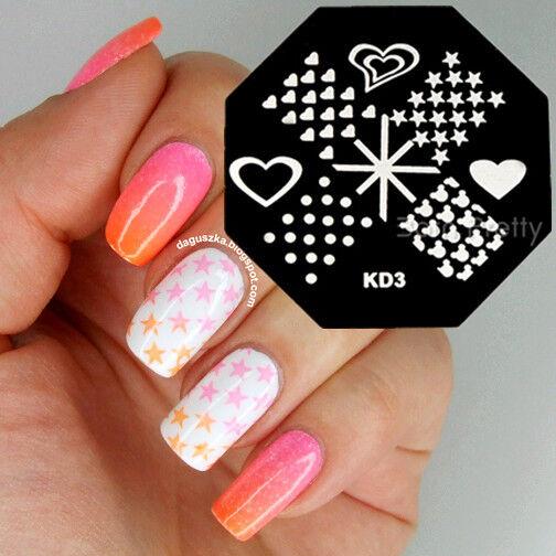 Nail Art Stamping Plates Stamp Template Cute Bear Heart Dots Stars