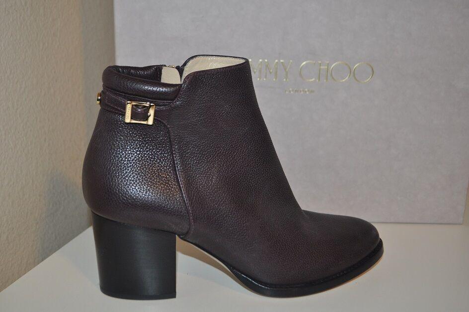 NIB 995+ Jimmy Choo METHOD Dark Brown Leather Ankle Boot Block Heel 35.5 / 5.5