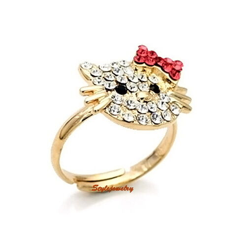 Rose Gold Plated Adjustable Ring Made With Swarovski Crystal Kitty Cat Ring SR48