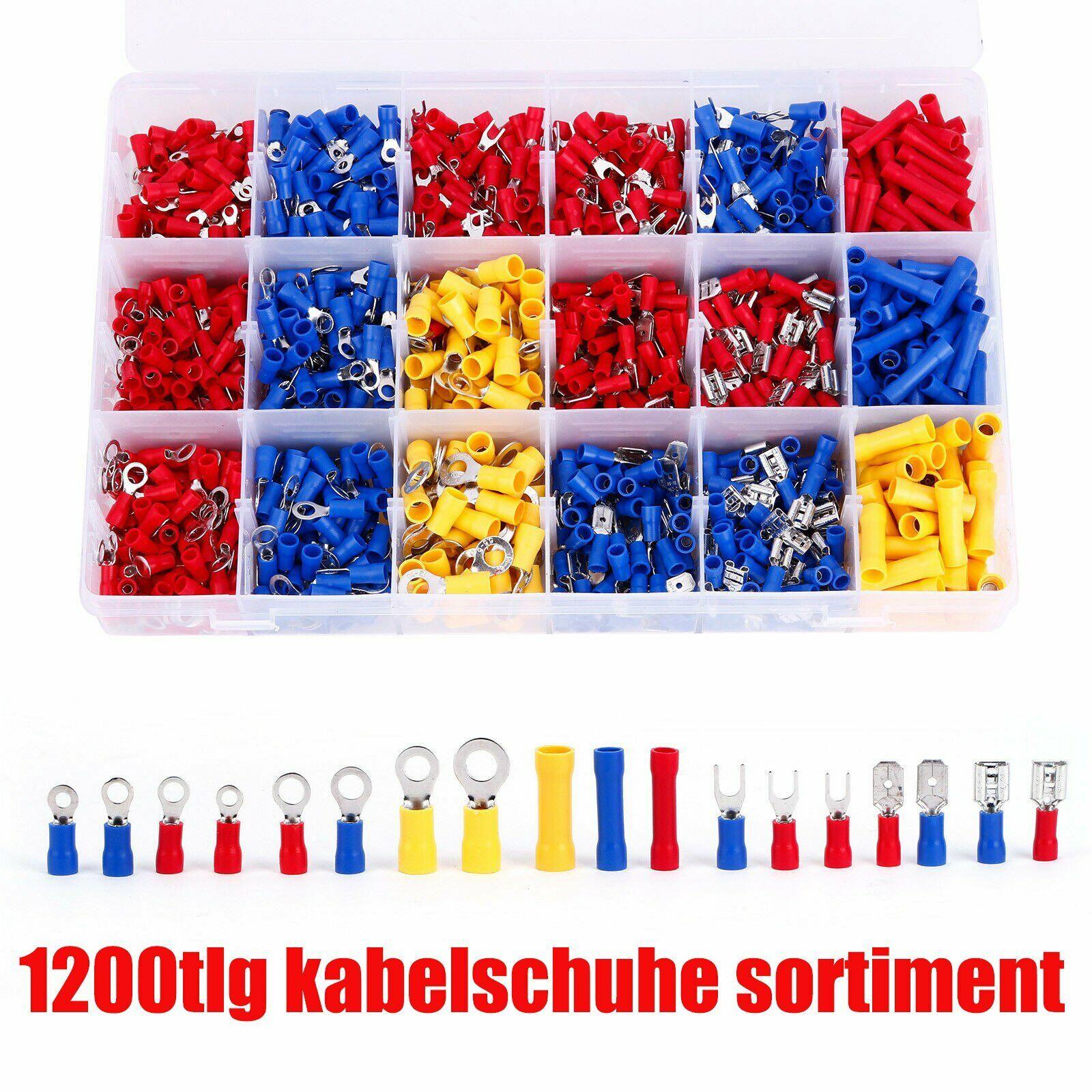 kabelschuhe Sortiment Box Flachkabelschuhe Gabelkabelschuhe Rundstecker 1200 Pcs
