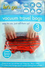 6 QUALITY ROLL STORAGE VACUUM BAGS NO VAC TRAVEL HAND LUGGAGE CLEAR/TRANSPARENT