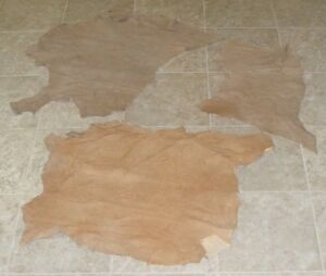 (QFA8190) Lot of 3 Hides of Assorted Lamb Suedes Finished Back Leather Hide Skin