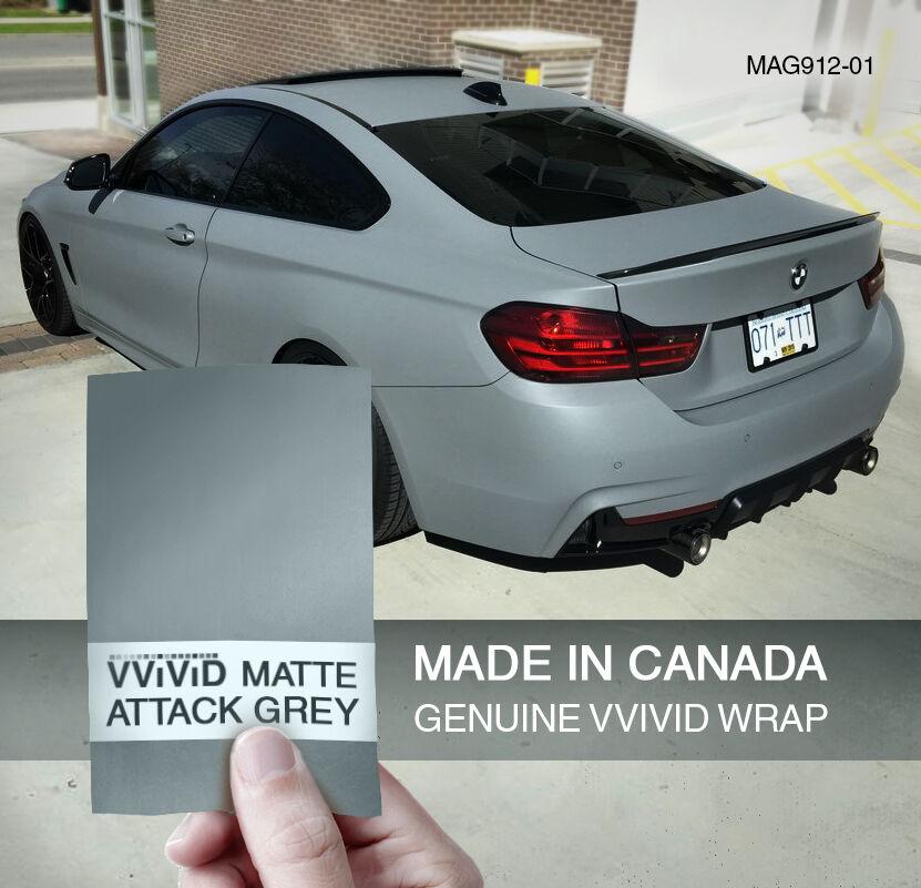 Nardo Grey 1ft x 5ft Vinyl Wrap Adhesive Film VViViD+ Matte Attack Grey
