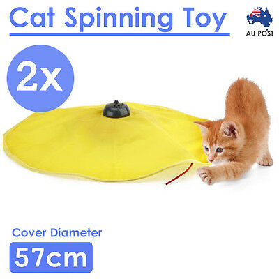 2x Cat Spinning Undercover mouse Pet Interactive Moving Chasing Play Fun Toy AU
