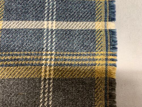 Grouse Plaid Blue Yellow Wool Type 140cm wide Upholstery//Curtain Fabric