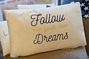 Super-flauschiges-Kissen-034-Follow-Your-Dreams-034-30x50cm-gross-Motivation-Lebenslust