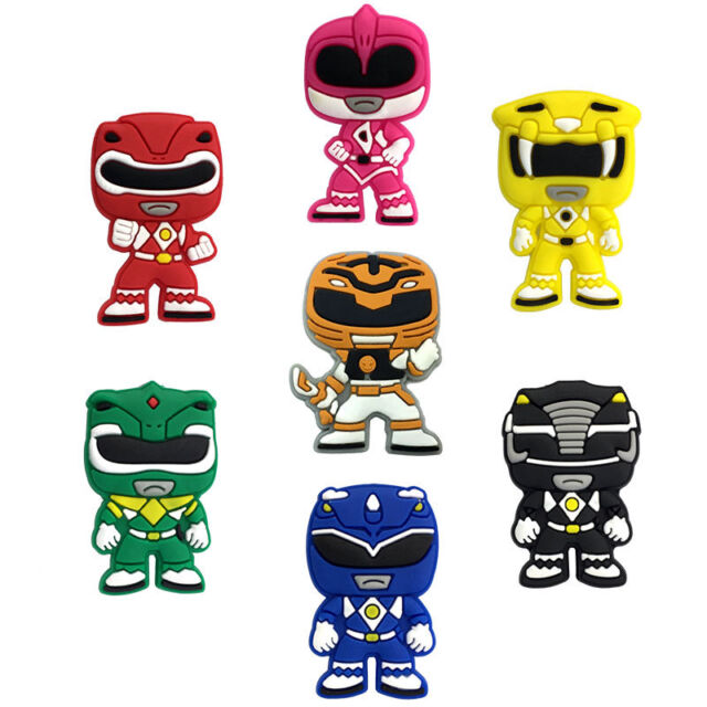 7 Power Rangers Croc Shoe Charms Jibbitz Crocs Charm Wristbands Gold Ranger