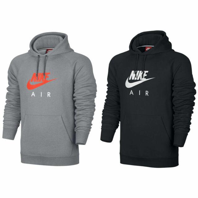 Nike Air Logo NSW Heritage Mens Black Grey Pullover Hoodie Sports Gym Sweatshirt