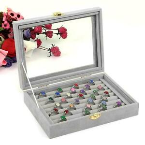 Image Is Loading Velvet Gl Jewelry Ring Display Organizer Box Tray