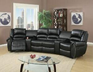 Reclining 5pc Motion Sectional Home Theatre Sofa Couch Console Cup Holder Black Ebay