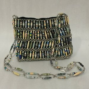 Image Is Loading Handmade Rolled Paper Beads Purse Small Shoulder Bag