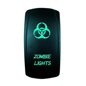 12v 20a Rocker Switch Zombie Lights Green Laser Led On Off 5 Pin Car Boat Utv Ebay