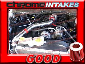 BLACK RED 02 03-07 DODGE RAM 1500 3.7 3.7L V6 FULL COLD AIR INTAKE KIT STAGE 3
