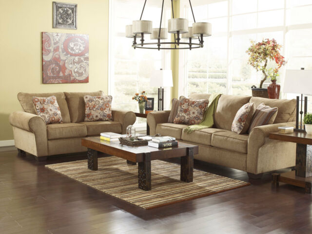 DAWSON Cottage Light Brown Fabric Sofa Couch Loveseat Set Living Room Furniture