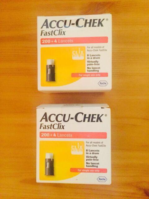 2 x Pack Accu-Chek Fastclix Lancets (408 Lancets) Blood Testing Diabetes