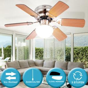 Decken-Ventilator-76-cm-mit-Zugschalter-Kuechen-Licht-Fluegel-MDF-Buche-Graphit