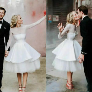 Vintage Short Wedding Dresses Long Sleeve Knee Length Tiered