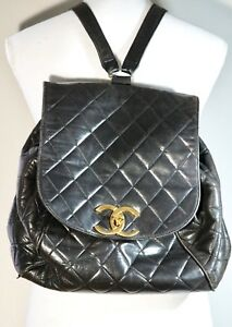 Image is loading Vintage-Rare-Black-Chanel-Quilted-CC-Logos-Chain- 9dbae425abe6f