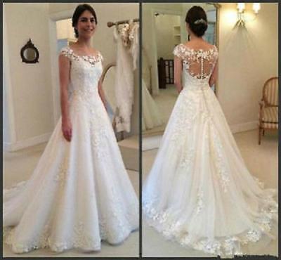 Tea length White//Ivory Wedding Dress Lace Bridal Gown Custom Size 6 8 10 12 14++
