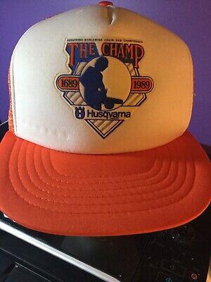 VINTAGE 1980s HUSQVARNA Husky CHAINSAWS TRUCKER FOAM SNAPBACK HAT BLUE ORANGE