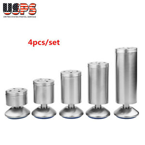 4PCS-Stainless-Steel-Sofa-Chair-Table-Cabinet-Legs-Lift-Rubber-5-Size-Adjustable