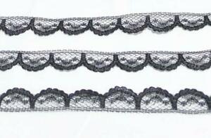 LACE-Vintage-1-2-034-wide-Trim-5-3-4-yard-Black-Sewing-Doll-Clothes-Crafts-Lot-111a