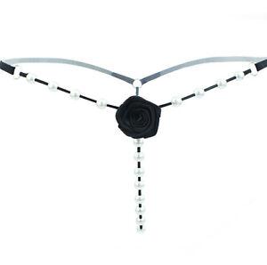 Sexy-Verre-Perles-String-String-Ouvert-Slip-Noir-Lingerie-pantie-S-M-L-XL-Ferani