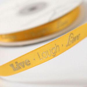 """Live Laugh Love 5/8"""" Wedding Favor Ribbon, 2 Sizes, 26 Colors!"""