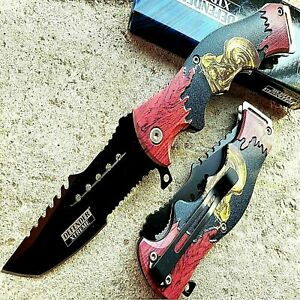 """8.5"""" TACTICAL Spring Assisted Open Pocket Knife FOLDING Blade Motorcycle Handle"""