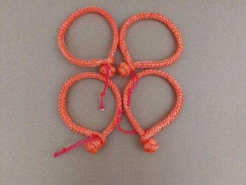 4pcs Orange 4mm*90mm Soft Shackles Ropec Shackle for Yacht,Winch Shackle