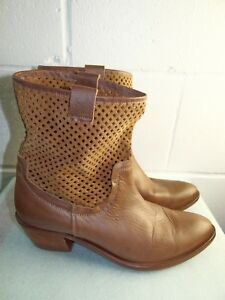 d4412348dff4c Miss Sixty Brown Leather Ankle Boot Women Size 41 11B Made in SPAIN ...