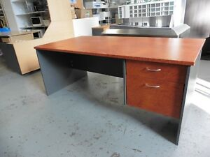 OFFICE-1800MM-CHERRYWOOD-DESK-WITH-DRAWERS-BRISBANE