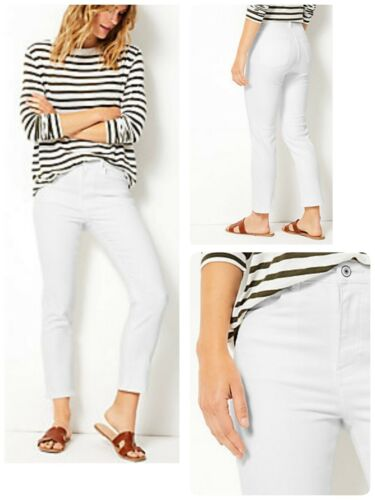 New M/&S Ankle Grazer White Jeans Stretch Size 6-24 RRP £35 Short Regular Long