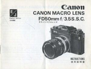 Canon Macro Lens FD50mm F3.5S.S.C. Instruction Manual (English, Japanese)