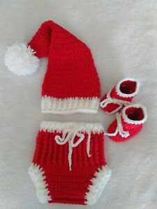 58a9db035 Details about New crochet Baby Santa hat diaper cover and booties set  newborn 0 - 3