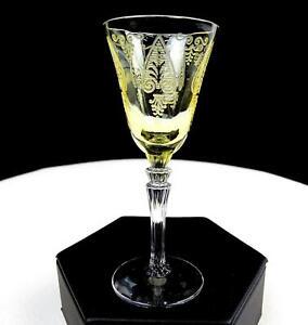 Fostoria-5099-Trojan-280-Etch-Topazio-amp-Chiaro-Elegante-Bicchiere-9-8cm-Cordial