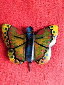 Vintage-Rare-Antique-Edwardian-1910s-Handmade-Butterfly-Stick-Lapel-Hat-Pin-VGC
